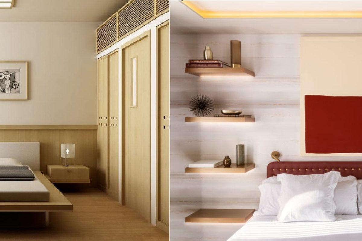Ý tưởng hay -Thay thế tủ đầu giường thành kệ treo tường