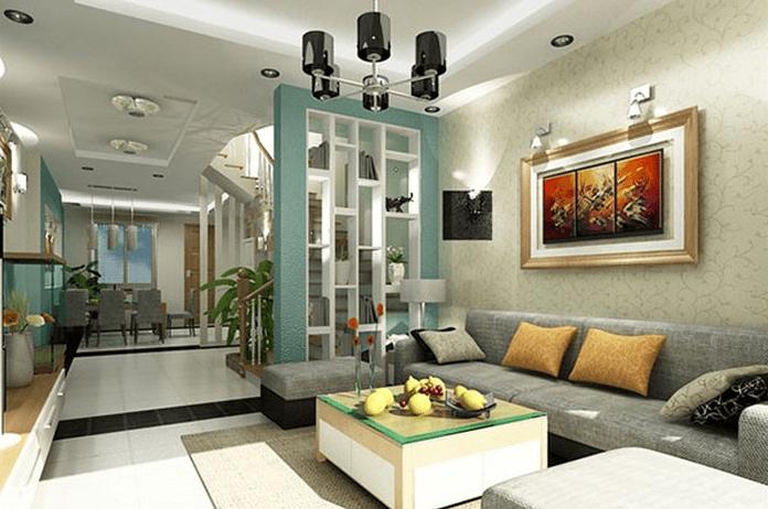 Sử dụng vách kính trong phòng khách chung cư