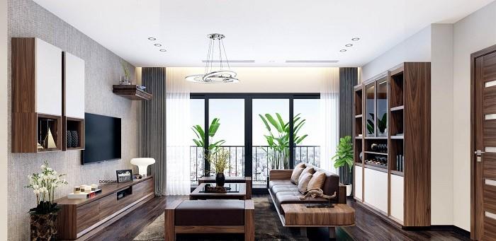 Sử dụng kệ gỗ treo tường trong phòng khách