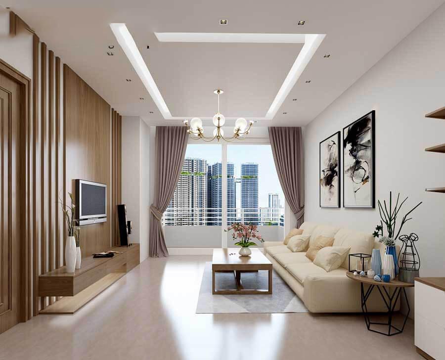 Thiết kế trần nhà cao cho phòng khách thoáng mát
