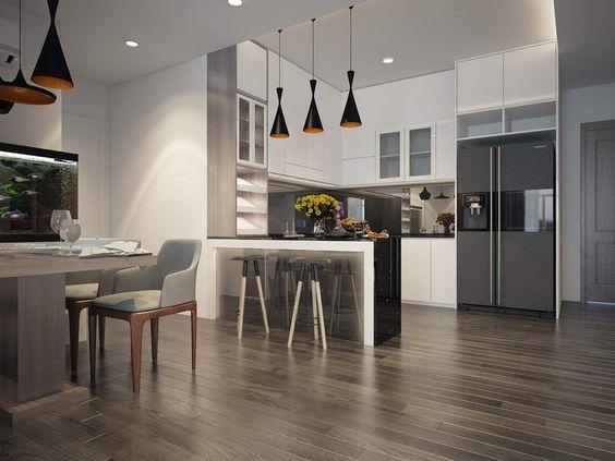 Các kiểu thiết kế tích hợp các không gian lại với nhau là sự lựa chọn rất được ưa chuộng trong các căn hộ hiện đại ngày nay .