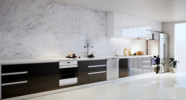 Gạch giả đá ốp lát trang trí nhà bếp